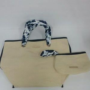 Oscar de la Renta Straw Tote & Cosmetic Bag Set